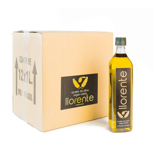 "Box Of 12 PET Bottles Of 1 Liter Of Extra Virgin Olive Oil ""LLORENTE"""