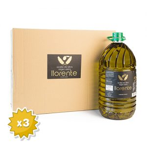 """Box Of 3 PET Carafes Of 5 Liters Of Extra Virgin Olive Oil """"LLORENTE"""""""