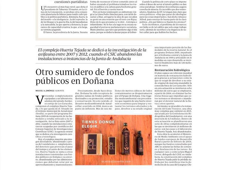 Diario ABC Recomienda Aceites Llorente